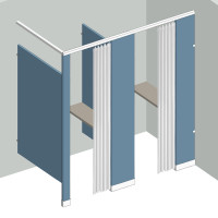 Dressing Compartment - In Corner - Right Hand - 2Stall IC2R - curtain