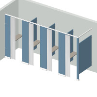 Dressing Compartment - In Corner - Left Hand - 4 Stall IC4L - curtain