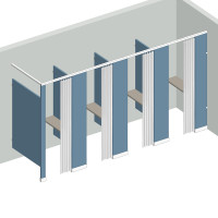 Dressing Compartment - In Corner - Right Hand - 4 Stall IC4R - curtain