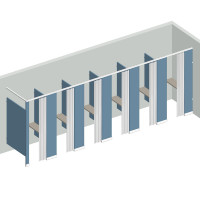 Dressing Compartment - In Corner - Right Hand - 5 Stall IC5R - curtain