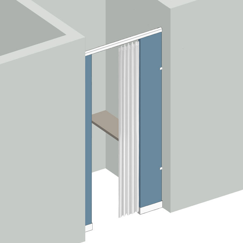 Dressing Compartment 1 Stall Between Wall Right Hand In