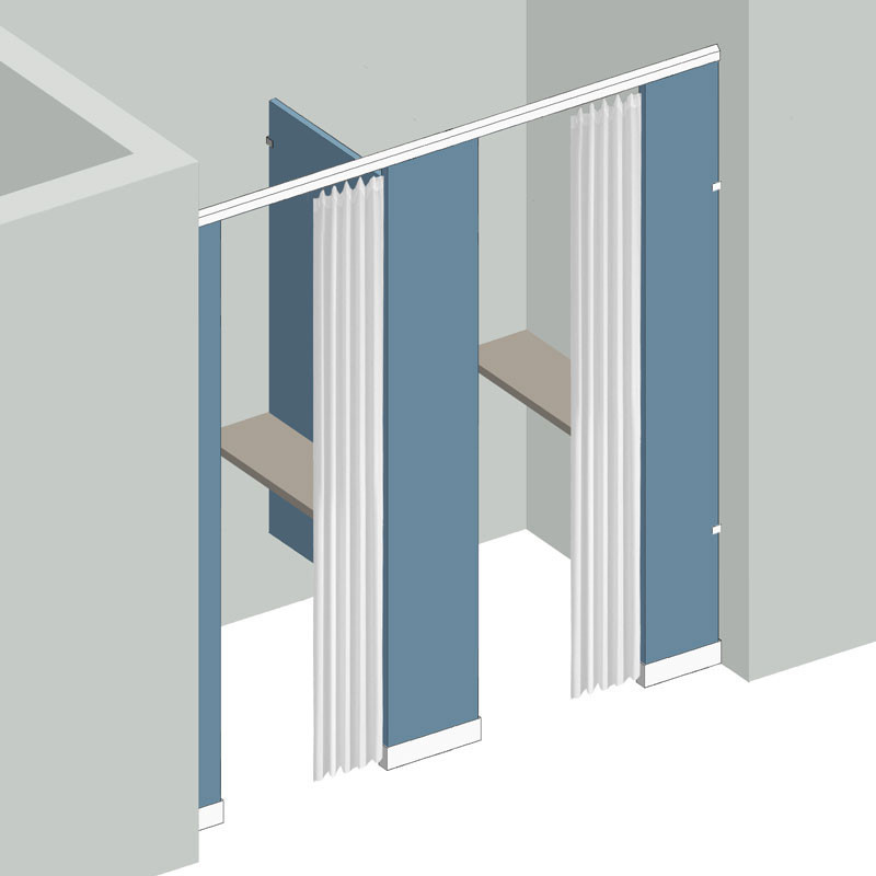 Dressing Compartment 2 Stall Between Wall Right Hand In