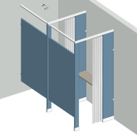 Shower/Dressing Combo - In Corner - Right Hand - 1 Stall IC1R - curtain