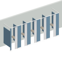 Dressing Compartment - Free Standing - Right Hand - 5 Stall FS5R