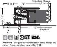 """NGP 1-3/8"""" X 9/16"""" Spring Loaded Adjustable Perimeter Seal 304N"""