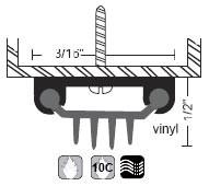 """NGP 1-3/16"""" X 1/2"""" Finned Vinyl Door Shoe 312V"""