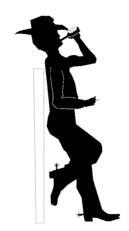 Cowboy Drinking Silhouette