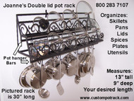 Double tier flat scroll front design with optional bottom rail for 8 double pothooks to hold up to 16 different accessories, utencils, etc