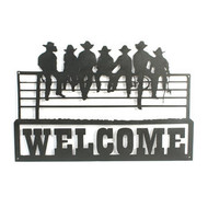 Welcome sign with sitting cowboys, cowboys sitting on the fence with welcome sign or custom coat rack
