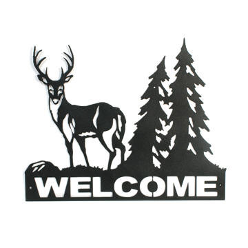 Deer Welcome Sign With An Outdoor Theme