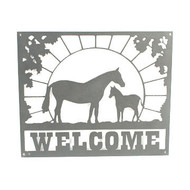 custom welcome sign with mare and colt