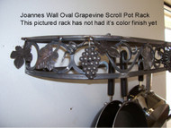 Joanne's custom potrack, panrack, and spice rack with optional accessories. Joanne's potrack with scroll and grapevine front design. Panrack with scroll design and optional accessories. Joanne's potracks, panracks, spice racks, wall spiceracks