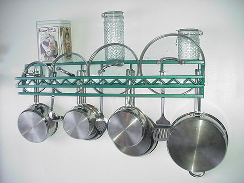 Wall pot rack with western style front, custom length and width options, wall pot rack with custom front design