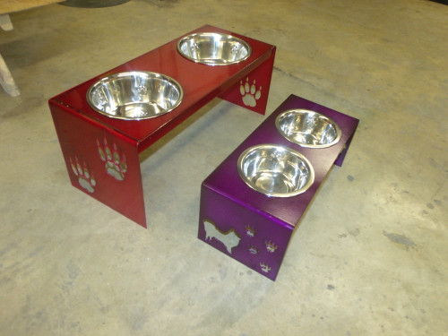 custom dog bowls with thousands of custom options. Customize by dog name, height, width, custom powder coat color, dog silhouette and much more. Call us at 800-283-7107 or 417-682-5551. Our storefront is in Lamar, Mo. USA