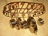 Joannes Grapevine Hanging Oval Cookware Pot Rack 18 x 30, Copper Patina