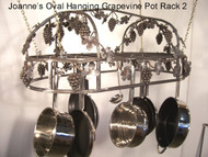 Joannes Grapevine Hanging Oval Cookware Pot Rack 18x36