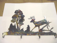 "Coat Hat Key Hanger Rack Buck Deer Outdoor Scene 18"" X 12"""