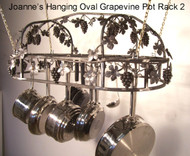 "Grapevine Hanging Oval Pot Rack Copper Patina, 24"" x 36"""