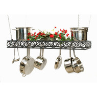 "Hanging Pot Rack w/ Scroll Front, 36"" w/ Black Texture Finish"