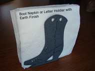 Napkin or Letter Holder, Metal Art w/ Boot Design