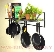 "16"" Black Textured Wall Bookshelf Pot & Pan Rack"