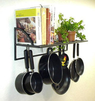 "24"" Black Textured Wall Bookshelf Pot & Lid Rack"