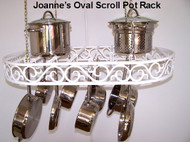 Oval Hanging Pot Rack with Flat Scroll Design