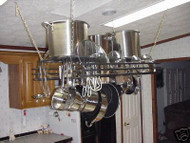 hanging potrack, kitchen potrack with optional front design, powder coat color options and length options. Design your own custom potrack on Joanne's custom potrack website or give us a call at 800-283-7107 for a free quote. Located in Lamar, Mo. USA