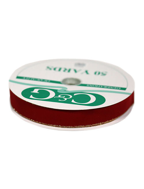 """2-5/8"""" #40 Imperial Red/Gold Velvet Weatherproof Wired Ribbon (R-40WIR)"""