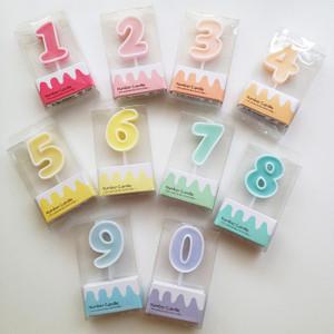 糖果色系數字蠟燭