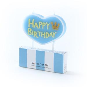 """Happy Birthday"" 心型蠟燭 (粉藍)"