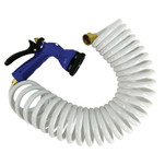 15 White Coiled Hose w\/Adjustable Nozzle