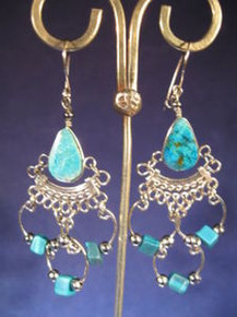 Alpaca Silver Earrings w/ Turquoise from Peru