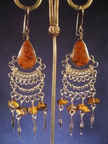 Alpaca Silver Earrings w/ Jasper & Tiger Eye from Peru