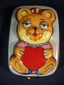 Limoges Box from France of Teddy Bear with a Red Heart