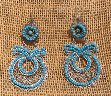 Frida Kahlo Style Sterling Silver Earrings w/ turquoise from Taxco, Mexico