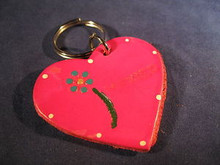 Key Chain Hand Made of Leather in the Shape of a Heart from Mexico