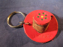 Key Chain Hand Made of Leather in the Shape of a Hat from Mexico Red Color