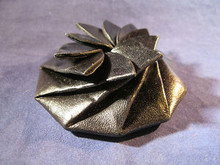 Flower Coin Purse from Mexico made of Geniune Leather in Black Color