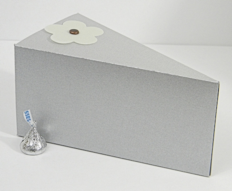 Jumbo Cake Slice Box shown in Shimmering Silver. Blossom not included.