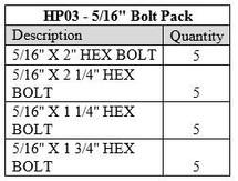 """5/16"""" BOLT PACK"""