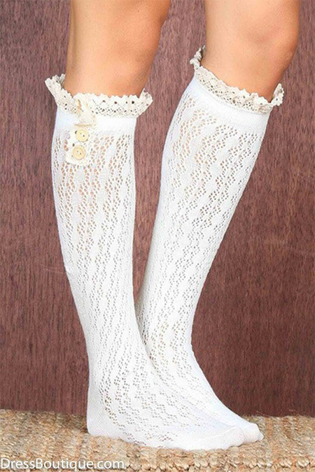 Ivory Knee Length Double Button Lace Boot Socks