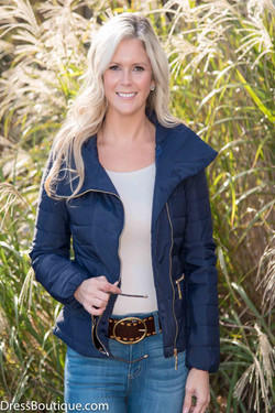 Fitted Navy Quilted Jacket