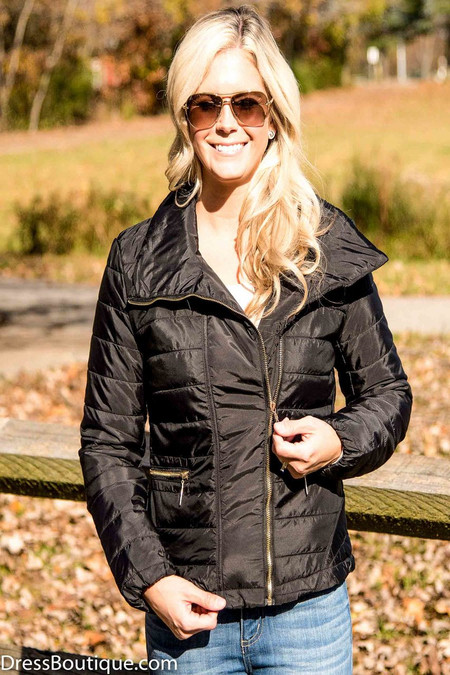 Fitted Black Quilted Jacket