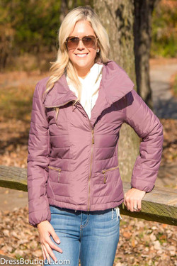 Fitted Mauve Quilted Jacket