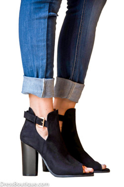 Black Faux Suede Peep Toe Ankle Boot