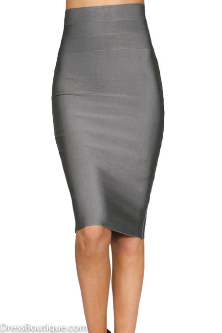 Metallic Grey Bodycon Pencil Skirt