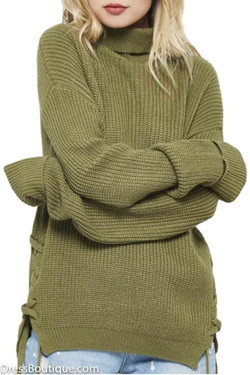 Olive Turtle Neck  Sweater with Side Ties