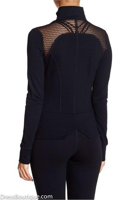 Black Mesh Panel Athletic Jacket Shop Womens Active Wear