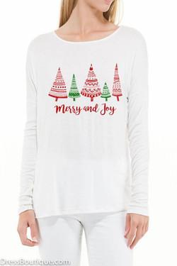 White Merry & Joy Long Sleeve Graphic T-Shirt